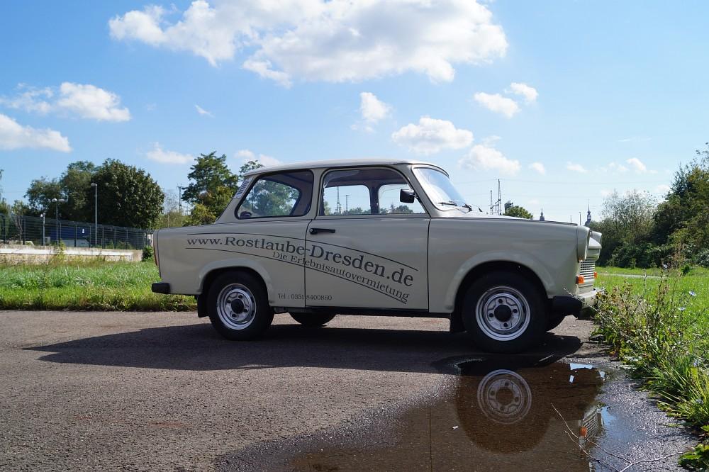 Trabi mieten - Der Trabant 601 der Rostlaube Dresden für Oldtimer-Touren